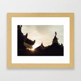 Temples at sunset Framed Art Print