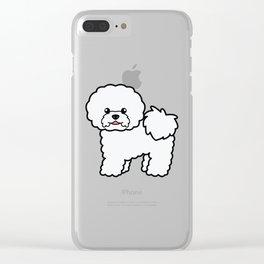 Cute White Bichon Frise Dog Cartoon Illustration Clear iPhone Case