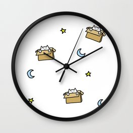 Cat print - Floating Through Space Wall Clock
