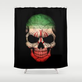 Dark Skull with Flag of Iran Shower Curtain