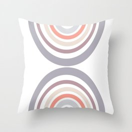Modern Double Rainbow Hourglass in Muted Earth Tones Throw Pillow