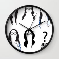 alex vause Wall Clocks featuring Alex Vause Hairstyles by Zharaoh