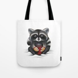 Raccoon with Hot Chocolate Tote Bag