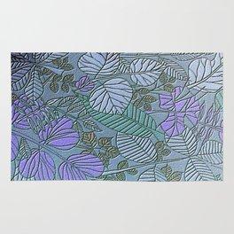 Soft Light Teal Leaf Pattern Rug
