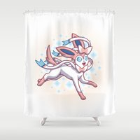 sylveon Shower Curtains featuring Sylveon  by Lara Frizzell