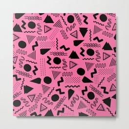 Neon pink black geometric retro 80's motif Metal Print