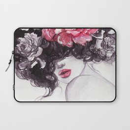 Woman with flowers. beauty background. fashion illustration. watercolor painting Laptop Sleeve