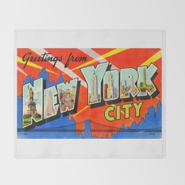Greetings From New York City Throw Blanket