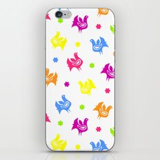 Cute retro hen and flowers iPhone & iPod Skin
