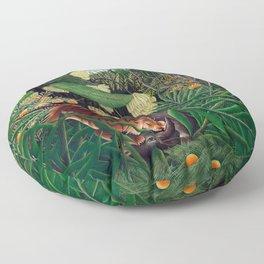 Henri Rousseau - Fight between a Tiger and a Buffalo Floor Pillow