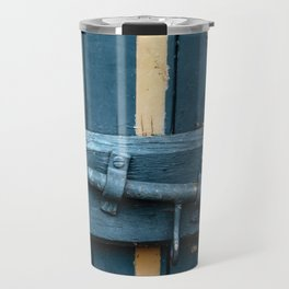 Old blue wooden farm doors Travel Mug