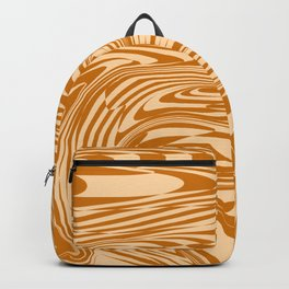 Psychedelic Warped Marble Wavy Checkerboard in Orange and Cream Backpack