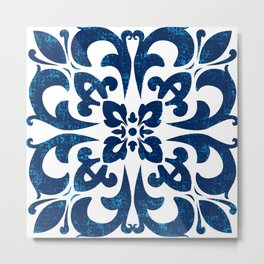 Baroque inspired ceramic style tile art Metal Print