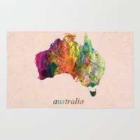 australia Area & Throw Rugs featuring Australia  by mark ashkenazi
