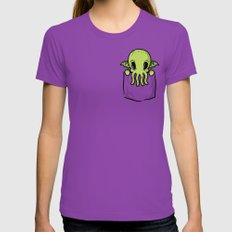 Pocket Cthulhu Womens Fitted Tee LARGE Ultraviolet