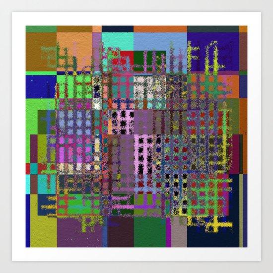 Pastel Playtime - Abstract, geometric, textured, pastel themed artwork Art Print