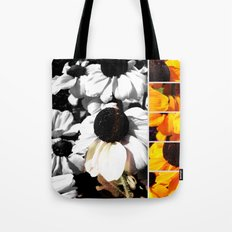 Monochrome and Yellow Black-eyed Susans Tote Bag