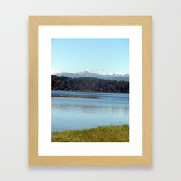 The New  Zealand Alps over a lake Framed Art Print