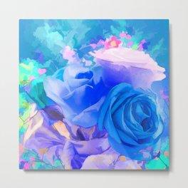 flowery blue Metal Print