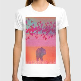 Little bear in the colorful field, leaf, colors, pink, blue, field, grass, bear T-shirt
