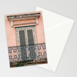 Old doors and balcony on a coral pink background in Italy Stationery Cards