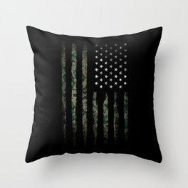 Khaki american flag Throw Pillow