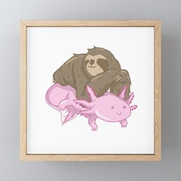 Cute Axolotl Sloth Water Aquarium Pet Animal Gift Framed Mini Art Print