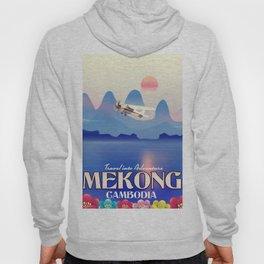 Mekong Cambodia vacation poster. Hoody