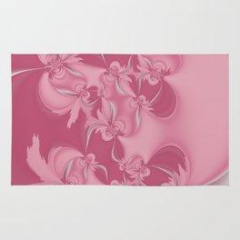 Pink Fractal Flowers Rug