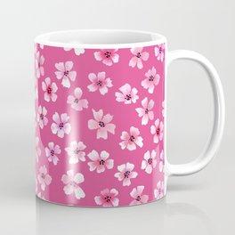 Loose pink flowers in hot pink background Coffee Mug