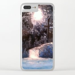 Blues In Nature Waterfall Spray Painting Clear iPhone Case