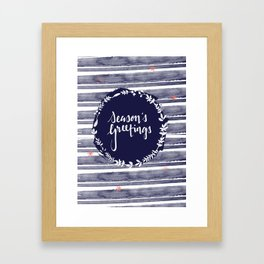 Seasons Greetings (Navy) Framed Art Print