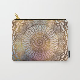 Gentle Pastel and Gold  Choku Rei Symbol in Mandala Carry-All Pouch