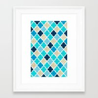 morrocan Framed Art Prints featuring Morrocan Tile Blue with Gold Glitter by Shelby McCann