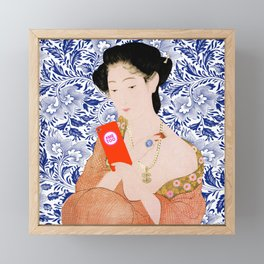 confused timeline with japanese lady Framed Mini Art Print