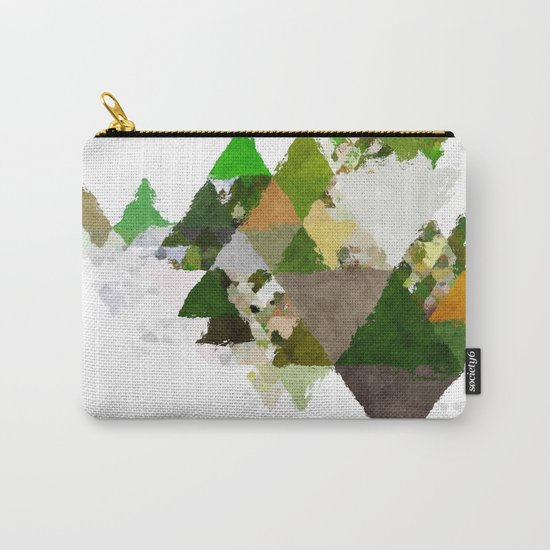 Spring Triangles - Fresh green and white triangle pattern - Greenery on #Society6 Carry-All Pouch