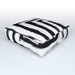 Minimal Black and White Square Rectangle Pattern Outdoor Floor Cushion