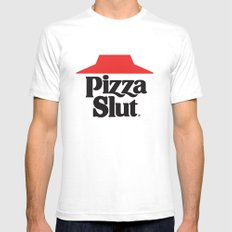Pizza Slut Mens Fitted Tee SMALL White