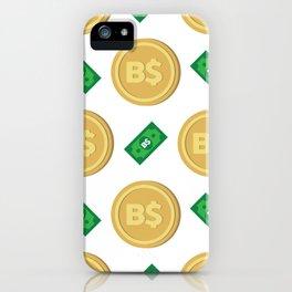 Bahamas's Bahamian Dollar B$ code BSD banknote and coin pattern wallpaper iPhone Case