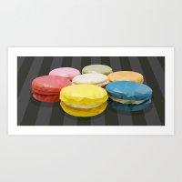 macaroon Art Prints featuring geometric macaroon sweet by artsimo