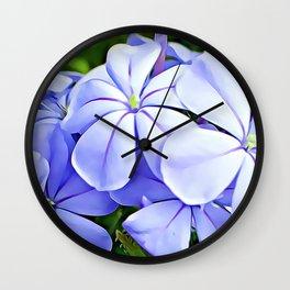 Blue Plumbago Wall Clock