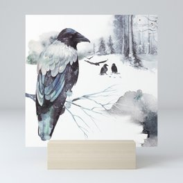 Cryptical Crows In The Whispering Winter Woods Mini Art Print