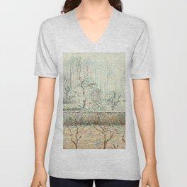 """Camille Pissarro """"Paysage avec Maisons et Mur de Cloture, Givre et Brume, Éragny"""" Unisex V-Neck"""