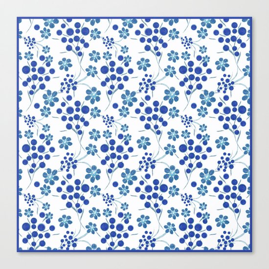 Blue flowers on a white background. Canvas Print
