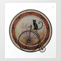 Cat On Wheels Art Print