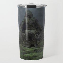 Giant Goddess Statue on a Green Hilly Landscape Travel Mug
