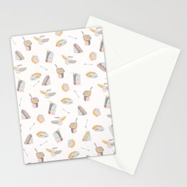 Packed Lunch Seamless Pattern, Hand Drawn Flat Color Vector Food Stationery Cards