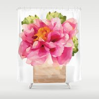 peonies Shower Curtains featuring Peonies  by Xchange Art Studio