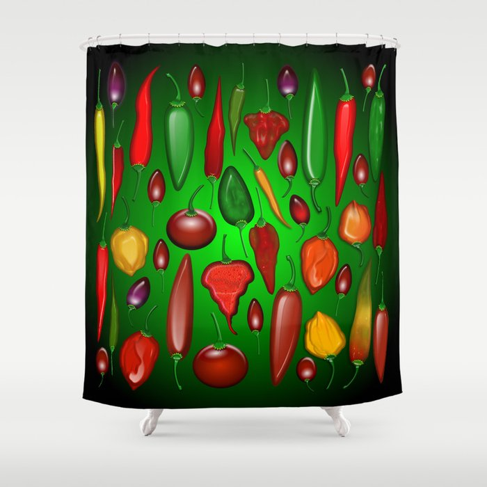 Chili Peppers Hot And Spicy Shower Curtain
