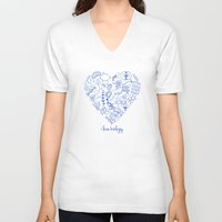 biology V-neck T-shirts featuring i heart biology by lucylamplight